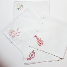 Prawn and Lobster Hand Embroidered Vintage Napkins by embroiderybyKGDesign on Etsy