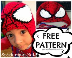 Crochet Superhero Hat Patterns Free Pattern Spiderman Hat At Wwwwoollyandstitched Visit To. Crochet Gratis, Crochet Cap, Free Crochet, Crotchet, Crochet Beanie Pattern, Crochet Patterns, Hat Patterns, Crochet Kids Hats, Knitted Hats