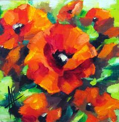 red poppies - acrylic on woood Paint by me Anne Thouthip