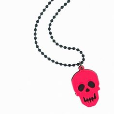 Fuschia skull longline necklace on a black bead chain Available from www.skullaccessories.co.uk