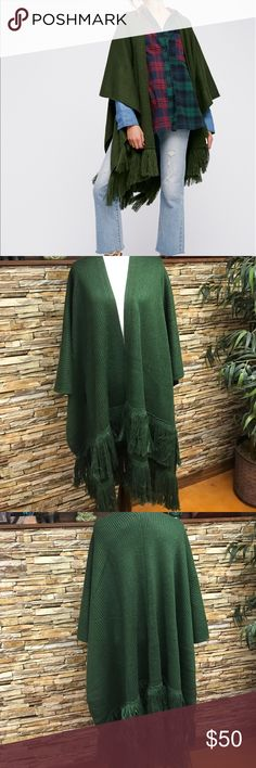 """Free People Kimono Free People Solstice Ribbed Fringe Kimono.  Drape on for an effortless look.  Super cozy knit.  Heavy fringe details.  Heavyweight ribbed fabric.  Color: army.  100% acrylic.  Length 32"""".  New with tag.  Never worn.  Excellent condition. Free People Jackets & Coats"""