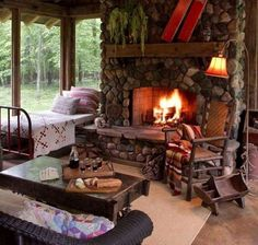 This is adorable. Day bed near the main fireplace