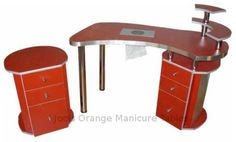 Manicure Station MT19 in red with an extractor fan and a mobile trolley £818
