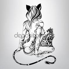 Silhouette of girl cat with  cat — Illustration #67898655