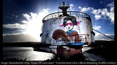 Neglected Duke Of Lancaster cruise liner turned into graffiti street art floating gallery, Flintshire, Wales. More pics at website. Duke Of Lancaster Ship, Abandoned Ships, Abandoned Places, Ghost Ship, Francis Bacon, 10 Picture, Street Art Graffiti, Street Artists, Graffiti Artists