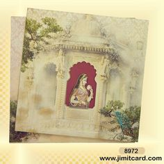 This is a royal theme card with Rajasthani paintings printed all over the card & main card has an image of bride makes it look really beautiful. Scroll Wedding Invitations, Marriage Invitation Card, Creative Wedding Invitations, Wedding Invitation Design, Custom Invitations, Wedding Stationery, Invites, Royal Theme, Hindu Wedding Cards