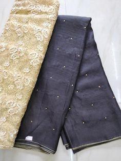 Fancy jute Georgette Sarees with blouse - Elegant Fashion Wear Kota Silk Saree, Art Silk Sarees, Georgette Sarees, Plain Saree With Heavy Blouse, Jute Sarees, Churidhar Designs, Modern Saree, Saree Trends, Elegant Fashion Wear