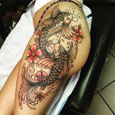 Peces Yin Yang y Flores