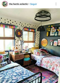 42 Fascinating Shared Kids Room Design Ideas - Planning a kid's bedroom design can be a lot of fun. It can also be a daunting task as you tackle the issue of storage and making things easy to clean. Cool Kids Bedrooms, Kids Bedroom Designs, Kids Room Design, Girls Bedroom, Bedroom Decor, Girl Nursery, Modern Bedroom, Contemporary Bedroom, Bedroom Lighting