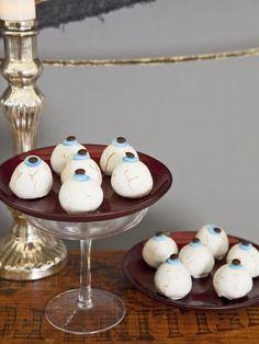"Halloween Party Food: Cake Ball ""Eyeballs"" Recipe>> www.hgtv.com/entertaining/halloween-party-food-cake-ball-eyeballs-recipe/index.html?soc=pinterest"