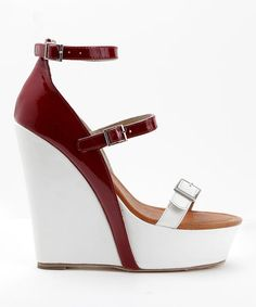 Another great find on #zulily! Cranberry & White Parlay Leather Wedge #zulilyfinds
