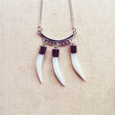 White Tusk Necklace Mother of Pearl Necklace by lowelowejewelry