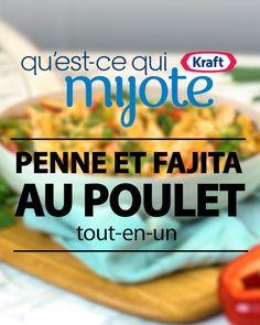 Penne et fajita au poulet tout-en-un Fajitas, Wok, Routine, Food And Drink, Pasta, Lunch, Sims 4, Desserts, Cupcakes
