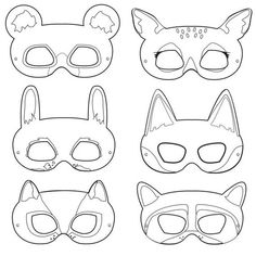 Woodland Forest Animals Black and White Printable Masks