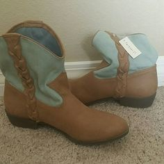 Boots Blue, brown western boots denim tops with braid down the sides. Never been worn. Forever 21 Shoes