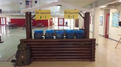 Everest VBS Registration Desk made from carpet tubes-turned-lincoln logs