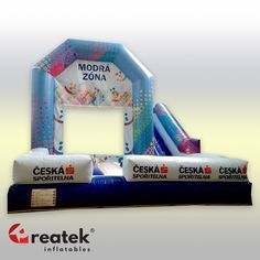 Custom made inflatable combos, bouncy houses with slides and obstacles from Reatek Europe, with quick delivery. Bouncy House, Bouncy Castle, Corporate Branding, Castles, Custom Design, Advertising, Europe, Brand Management, Chateaus