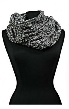 Chic Heavy Knitted Gray & Black Fall/Winter Loop Scarf $9.95 #bestseller