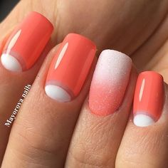 Bright moon nails, Coral and white nails, Half-moon nails ideas, June nails, Manicure by summer dress, Moon nails by gel polish, Nails under coral dress, ring finger nails