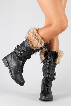 Lug-15 Fur Lace Up Military Mid Calf Boot  Oo Id wear these with my Steampunk outfit.