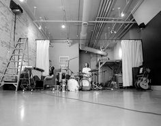 music studio #recess drums curtain dividers