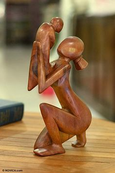 Wood sculpture, 'Moment of Tenderness' by NOVICA