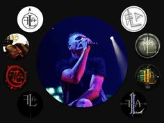 Bill Leeb and various FLA logos by Peter Clarke, taken from Front Line Assembly Hard Wired! on FB