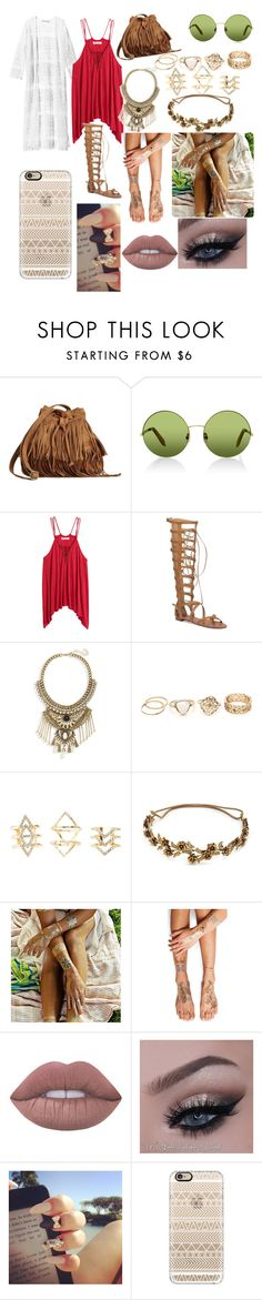 """""""Coachella 3"""" by gabbyholley ❤ liked on Polyvore featuring H&M, Victoria, Victoria Beckham, Vince Camuto, Leith, Charlotte Russe, Jennifer Behr, Flash Tattoos, Lime Crime and Casetify"""