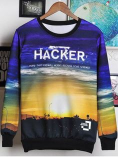 7f20bd15a SHARE & Get it FREE | 3D Letters and Sunset Print Round Neck Long Sleeve  Sweatshirt
