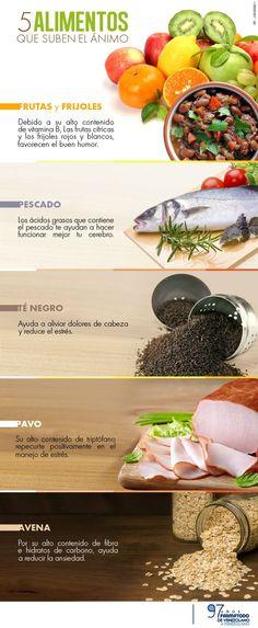 5 alimentos capaces de elevar tu estado de ánimo. #infografía #nutrición #alimentos