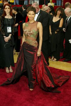Halle Berry in Elie Saab 2002. She won Best Actress for Monster's Ball. Photo by Rex Fox for Vogue UK.