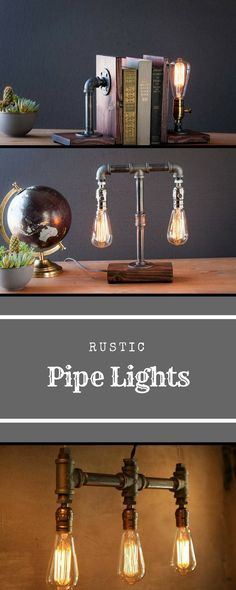 Rustic pipe lights by urban industrial craft bookend lamp lamps classic edison bulb