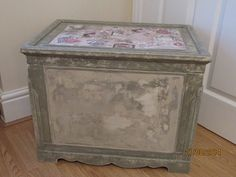 This very #old and #solid chest was in need of a good deal of #upcycling so after a good wash a bit of #repair and it was ready for some #colour. #painted initially with #AnnieSloan Old #Ochre then #Chateux grey a good deal of sandpaper and paper towel where used to give this lovely #stone effect. Finally finished off with some #pretty #decoupage and a good overall waxing of Annie Sloan Clear wax. Beautiful #storage box #morethanpaint