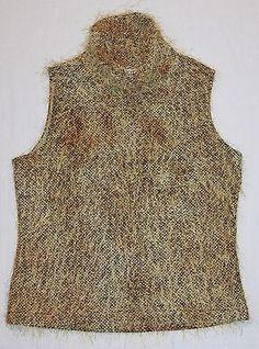 Ribkoff Trends Joseph Ribkoff Eyelash Knit Fuzzy Furry Golden Sleeveless Top 10   eBay
