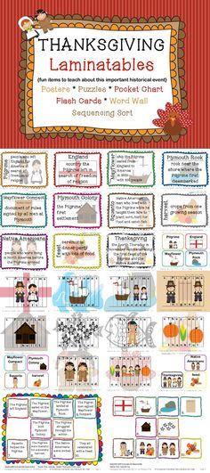 This product contains several items to help teach the important historical events and people surrounding the first Thanksgiving with an emphasis on vocabulary comprehension and a step-by step breakdown of the facts.     Included in this product: Posters, Puzzles, Flash Cards, Word Wall Cards, Pocket Chart Cards & more