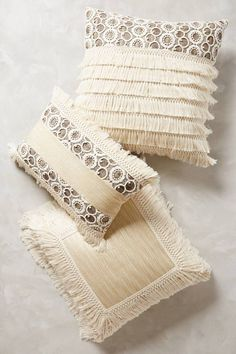 Fringed Ivory Pillow #anthrofave