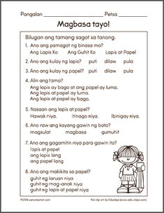 Free printable worksheets for Filipino kids Grade 1 Reading Worksheets, Kindergarten Math Worksheets, Kindergarten Reading, Preschool Learning, Learning Activities, Grade 1 Lesson Plan, Free Reading Comprehension Worksheets, Tagalog Words, Printable Preschool Worksheets