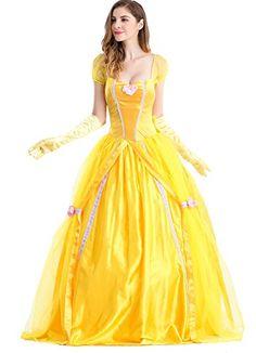Amazon.com  Moonight Adult Women Princess Belle Fairy Tale Cosplay Costume  (L 9c48c7d99aee