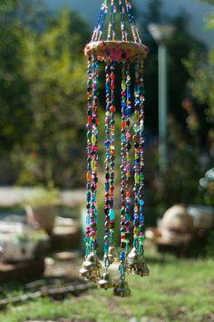 Wind chime – beaded mobile with Brass bells- sun catcher – Bohemian décor- Hippie style décor-garden bells-outdoor hanging decor-suncatcher - BOHEMIAN DECOR Hippie Style, Carillons Diy, Sun Catchers, Dream Catchers, Bead Crafts, Diy Crafts, Shell Crafts, Boho Dekor, Estilo Hippy