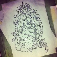 Wolfe and Rose Ink Tattoo Outline by Guen Douglas
