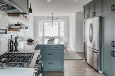 Loooove this! Modern Classic Grey Green Kitchen Remodel before and after