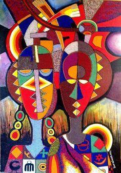 Jimoh Buraimoh - beads, acrylic and oil paint on canvas