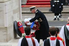 Memorial: Prince Charles lays a wreath on the Cenotaph, where remembrance services have be...