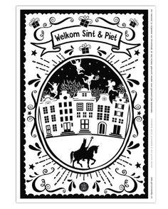 Sint Printable Welkom Poster - Gratis sinterklaas printables van Printcandy Work Party, Winter Wonder, Pictogram, Secret Santa, Diy Projects To Try, Holidays And Events, Gratis Printables, Nativity, Party Themes