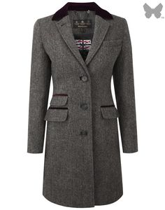 9465e841b Barbour Ladies' Stornoway Herringbone Coat – Charcoal LTA0080CH51 - Barbour  - Clearance | Country Attire