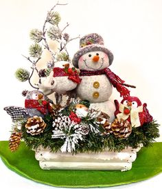 SOLD! Snowman and Owl Babies Arrangement by SandyNewhartDesigns on Etsy