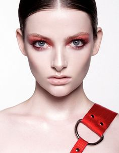 Model Siobahn O'Keefe is a red hot beauty with dewy skin and scarlet accents. Hair & Makeup by Julie Provis.