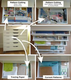 @Claire Sew-Incidentally adapted a standard IKEA ALEX drawer unit to fit her sewing and pattern making needs. Very inspirational organizing for your home office or craft room.