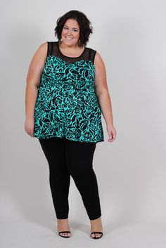 Jessica Kane Back 2 Basics Peplum Tank - Jade & Black (Sizes 12 - 32) | Affordable Plus Size Fashion Cool Gal Blue