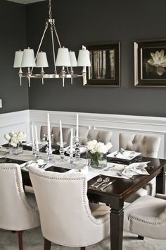 A chair rail can be a classy dividing line between two contrasting colors.